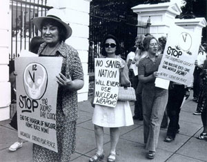 Bella Abzug, foreground leading WSP march c1961