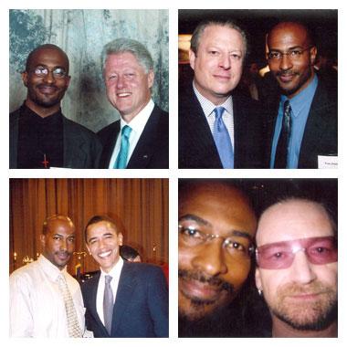 Anthony (Van) Jones with Clinton, Al Gore, Obama and Bono