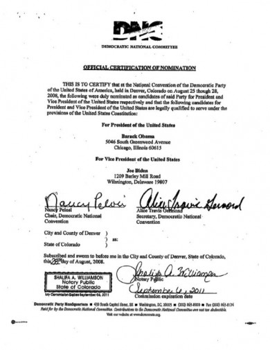 2008 DNC Certification Document #1