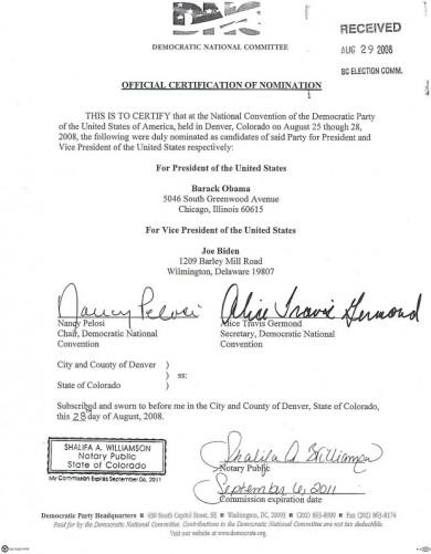 2008 DNC Certification Document #2