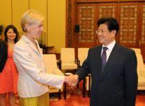Anna Burger and China's AFCTU Wang Zhaoguo