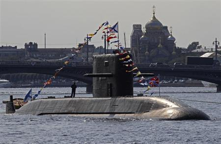 Russian submarine is anchored on Neva River in central part of the city of St. Petersburg