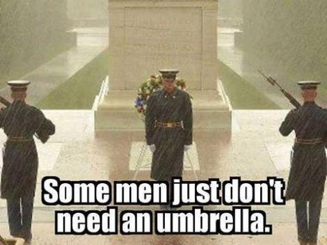 Some MEN don't need umbrellas